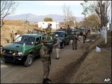 Troops on patrol in the village of Kabal, Swat Valley (file pic: 11 December 2009)