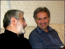 Undated picture of Mir Hossein Mousavi (L) with his nephew Seyed Ali