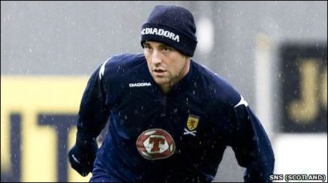 Kris Boyd trains with Scotland in October 2008