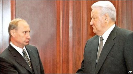 Vladimir Putin (left) shakes hands with Boris Yeltsin, file pic from August 1999