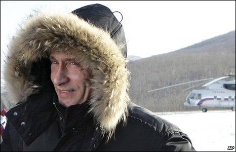 Vladimir Putin in Kozmino, eastern Russia, 28 December 2009
