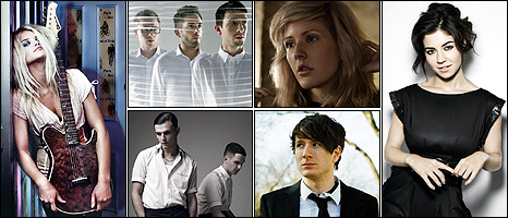Clockwise from left: Daisy Dares You, Delphic, Ellie Goulding, Marina & the Diamonds, Owl City, Hurts