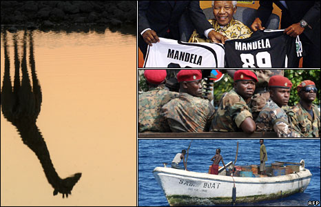 A giraffe reflected in a watering hole (left, BBC), former South Africa President Nelson Mandela (top right, AFP), red beret soldiers in Guinea (right middle, AFP), Somali pirates (bottom right, AFP)