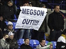Bolton fans hold up a banner