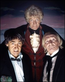 Patrick Troughton (left), Jon Pertwee (top)  and William Hartnell (right)