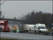 Pigs crash on M11