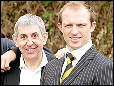 Ian McGeechan and Matt Dawson during a Wasps photo call