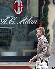 David Beckham arrives at Milan's traning ground