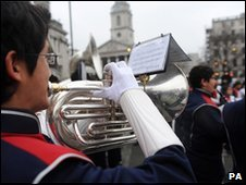 Trumpeter rehearsing for parade