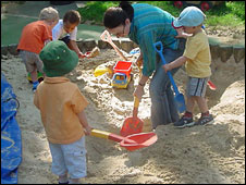 children in sand pit