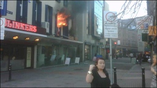 The fire broke out in commercial premises in Belfast city centre