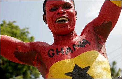 Ghanian football fan celebrating
