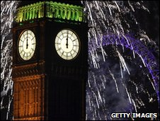 Fireworks light up Big Ben and the London Eye just after midnight