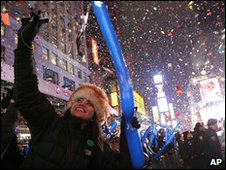 People celebrate in New York's Times Square