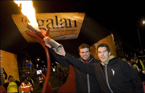 Rugby internationals Jamie Roberts and James Hook , mystery runners for this year's Nos Galan race(