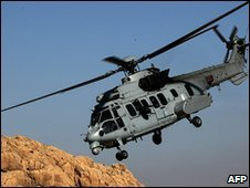 French military helicopter in Kapisa province