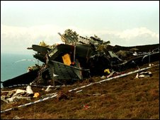 The wreckage of  RAF Chinook ZD576