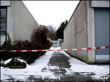 Outside the home of Danish cartoonist Kurt Westergaard on 2 January 2010 