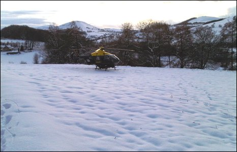 North Wales Police helicopter in Denbighshire rescue