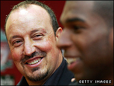 Rafa Benitez and Ryan Babel