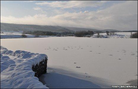 New Year at Nant y Ffrith reservoir looking towards Llandegla Forest