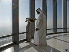 Man stands on Burj Dubai observation deck