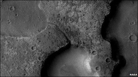 Nasa Context Camera image of depressions interpreted as ancient lake basins