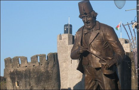 Tommy Cooper and the Tardis in Caerphilly