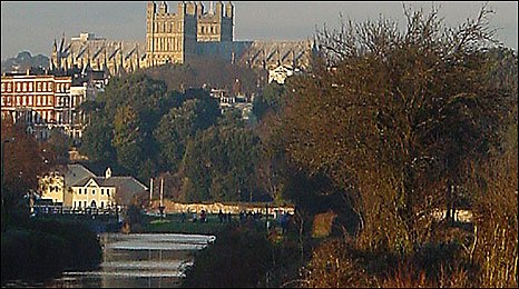 River Exe and Exeter Cathedral