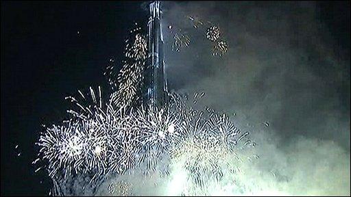 Fireworks at Burj Dubai opening