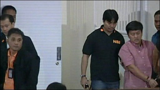 Andal Ampatuan Junior being brought into court