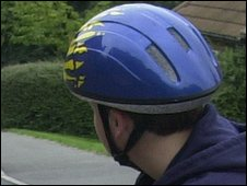 Cycle helmet worn by a boy