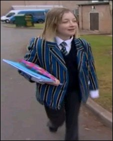 Hannah Jones at school before the operation