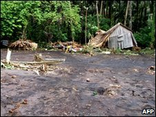 Devastation left by the tsunami on the Solomon Islands
