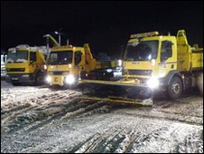 Gritter lorries at the depot