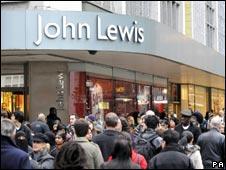 Crowds outside John Lewis