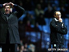 Blackburn boss Sam Allardyce and his Villa counterpart Martin O'Neill