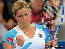 Kim Clijsters celebrates victory over Alicia Molik on Tuesday