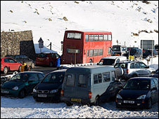 Cars parked on the side of the road at Pen y Pass (picture: Peter Macmillen)