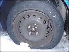 Pothole damaged-tyre