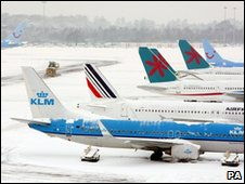 Manchester Airport in snow