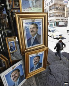 Framed photos of Yemeni President Ali Abdallah Saleh in Sanaa