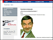 Mr Bean on Spanish EU presidency website (El Mundo screen grab)