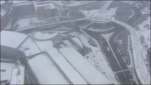 Aerial view of snowfall
