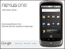 Screengrab of Nexus One page, Google