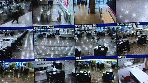 Airport security cameras