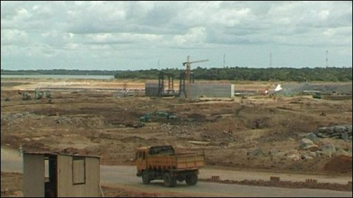 Construction of the port at Hambantota