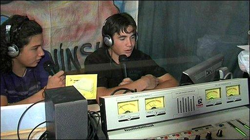 Argentine teenagers presenting radio show
