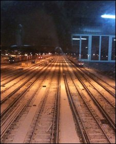Tracks at Clapham Junction under snow (Chloe Christmas)