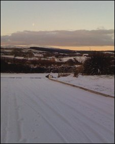 Snowy road in Loughinisland
